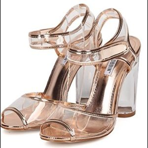 Shoes - Rose gold peep toe clear straps lucite heel sandal